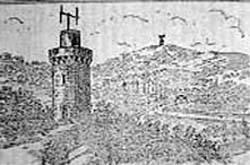 Grabado representando torres del telégrafo óptico de Chappe