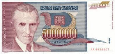 Billete de 5000000 Dinares. Yugoslavia. Tesla