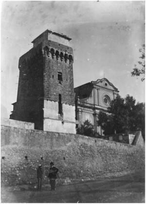 La torre y la ermita de Mare de Dèu del Camì ca. 1900. Arxiu Municipal de Cambrils. Fons  Ajuntament de Cambrils. Núm. Reg. 9525-1-010.