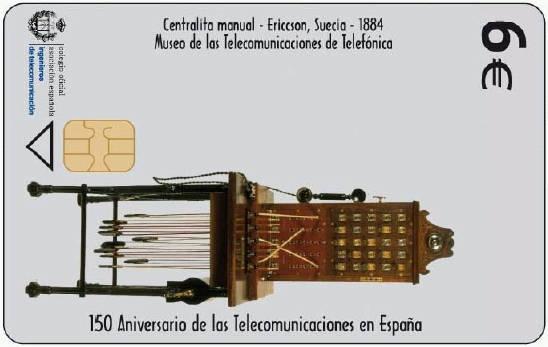 Tarjeta conmemorativa  del 150 Aniversario de  las Telecomunicaciones en España.  Telefónica